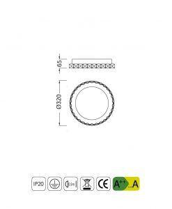 Plafón redondo pequeño elegante CRYSTAL LED