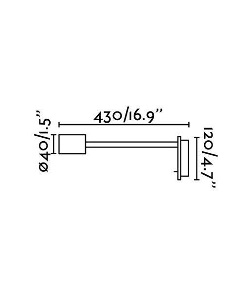 Medidas aplique brazo articulado níquel LESER LED