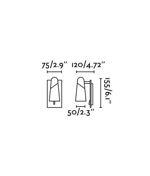 Medidas aplique de diseño minimalista negro LAO LED