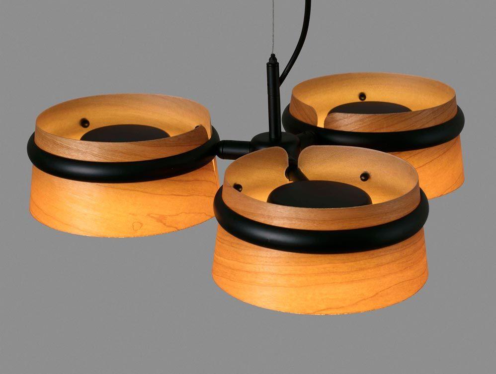 Lámpara 3 luces negra y madera LOOP LED detalles 2