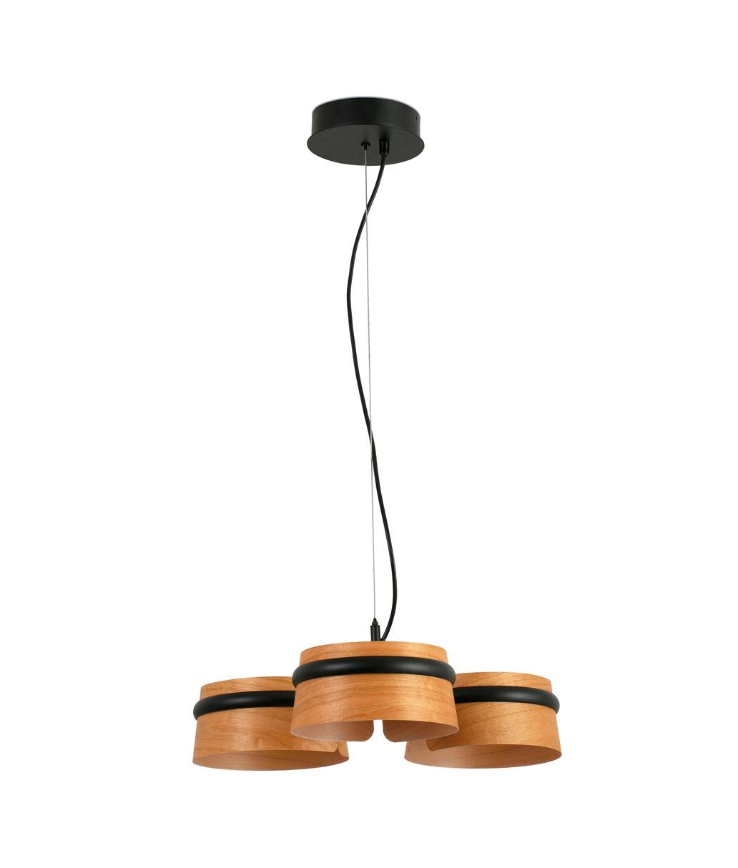Lámpara 3 luces negra y madera LOOP LED