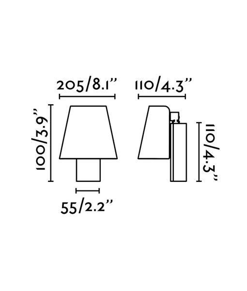 Medidas lámpara aplique atemporal negro LE PETIT LED