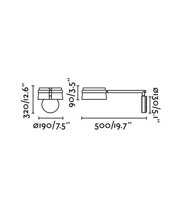 Medidas lámpara brazo articulado negra LOOP LED