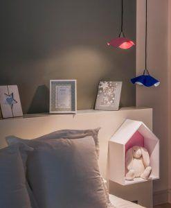 Lámpara colgante de piel azul HELGA LED ambiente