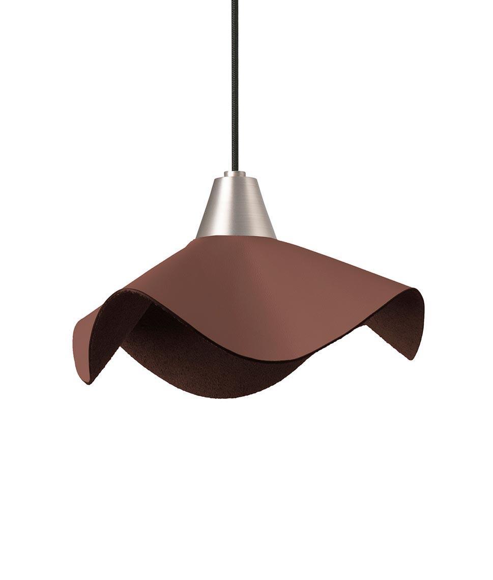 Lámpara colgante de piel marrón HELGA LED