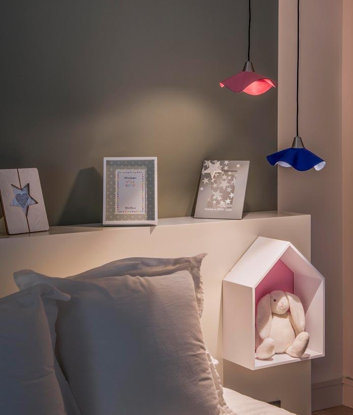 Lámpara colgante de piel rosa HELGA LED ambiente