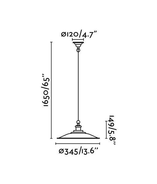 Medidas lámpara colgante ovalada verde LANG