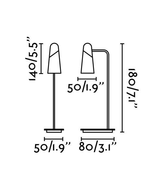 Medidas lámpara de mesa minimalista negra LAO LED