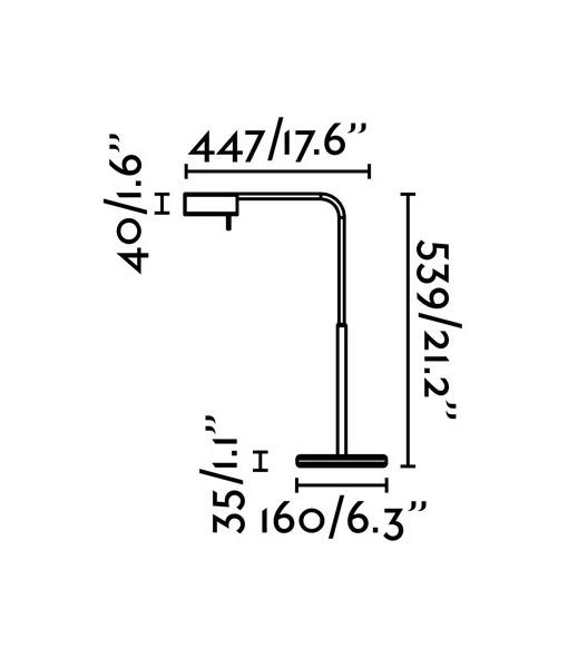Medidas lámpara de mesa regulable cromo ACADEMY LED