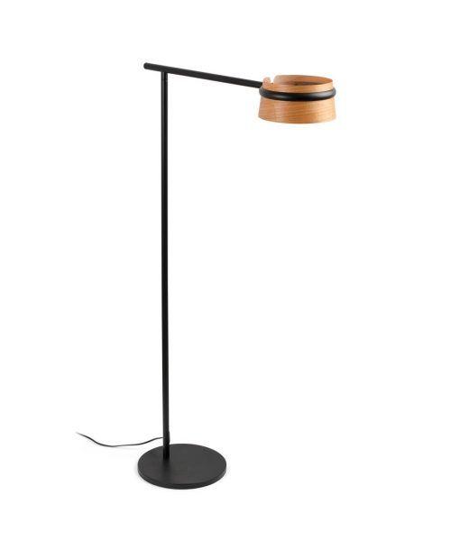 Lámpara de pie negra y madera LOOP LED