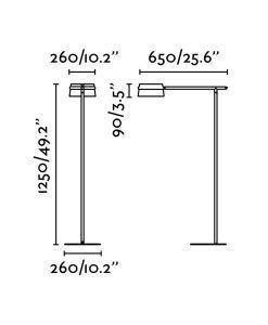 Medidas lámpara de pie negra y madera LOOP LED