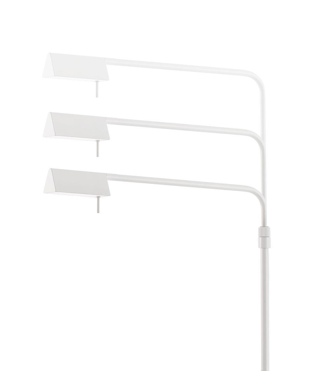 Lámpara de pie regulable blanca ACADEMY LED detalle