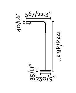 Medidas lámpara de pie regulable blanca ACADEMY LED