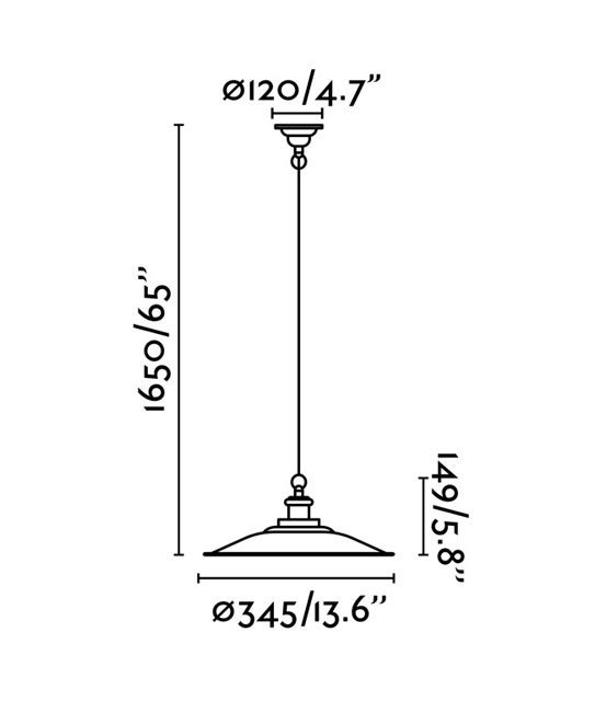 Medidas lámpara de techo ovalada negra LANG