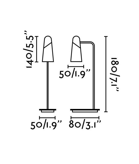 Medidas lámpara mesa minimalista blanca LAO LED