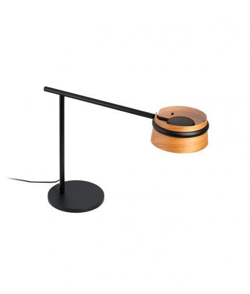 Lámpara mesa negra y madera LOOP LED