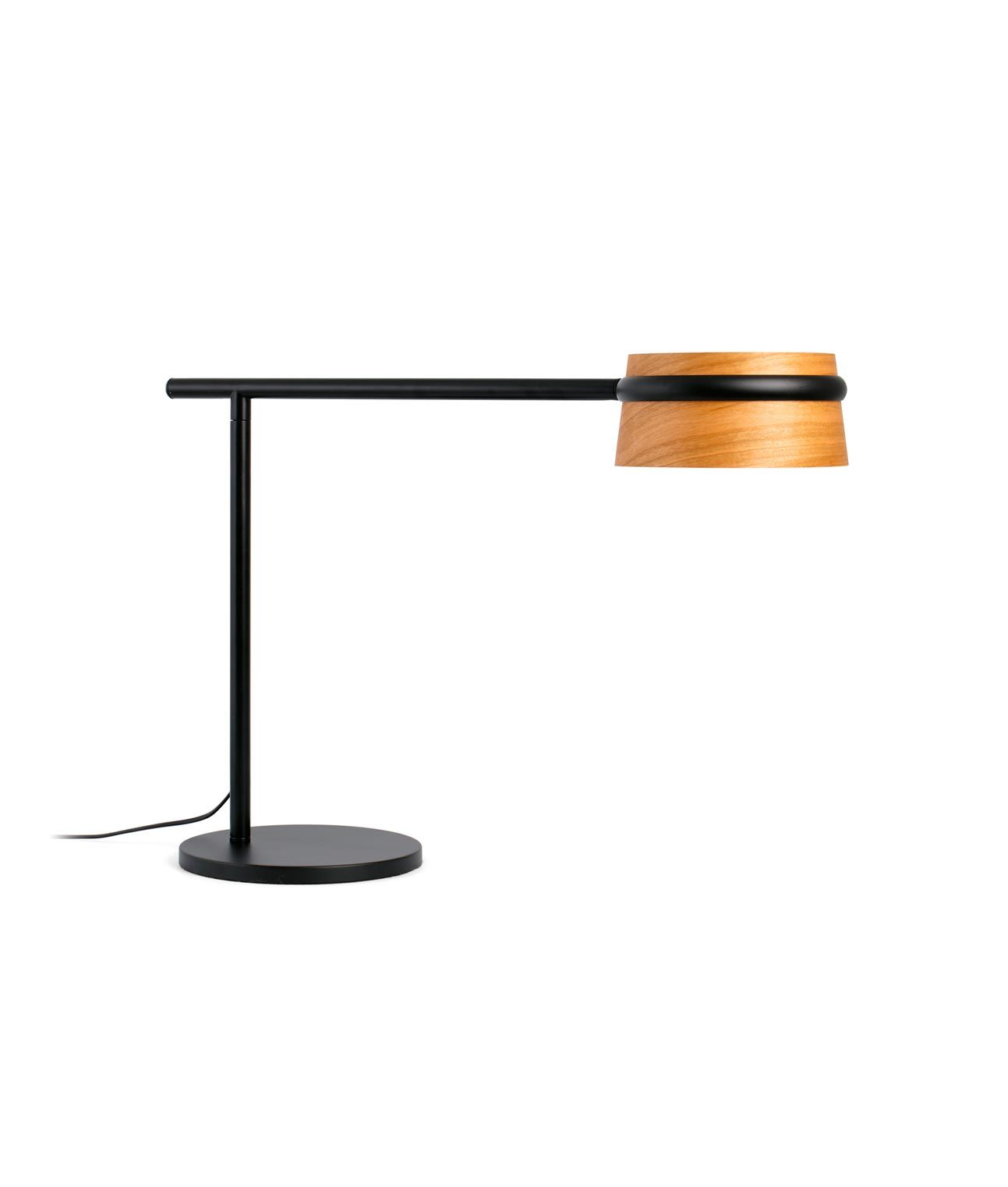 Lámpara mesa negra y madera LOOP LED detalle