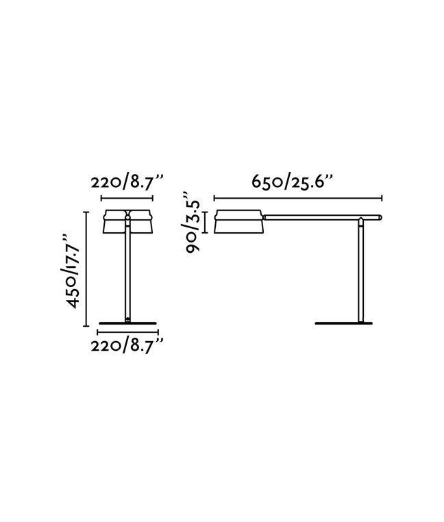 Medidas lámpara mesa negra y madera LOOP LED