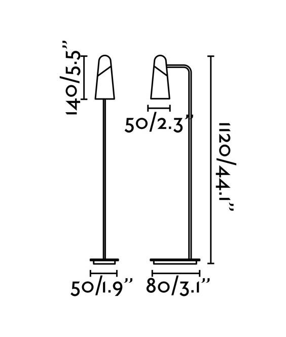 Medidas lámpara salón minimalista negra LAO LED