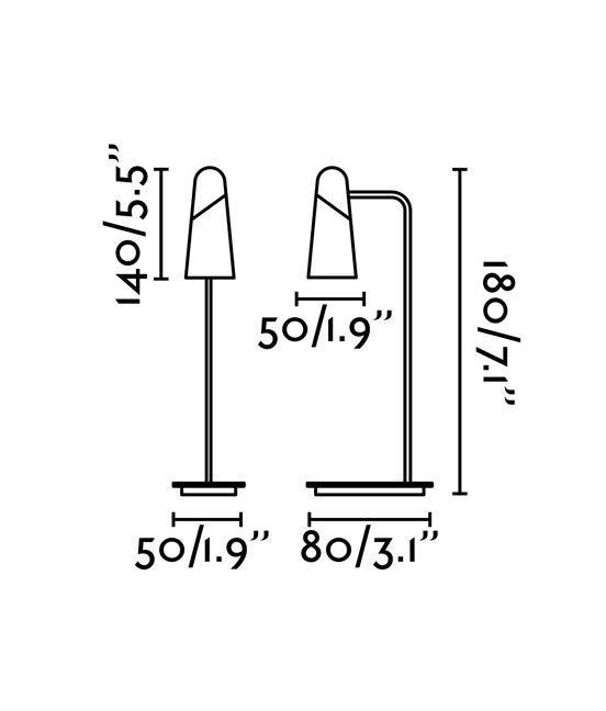 Medidas lámpara sobremesa negra y cobre LAO LED