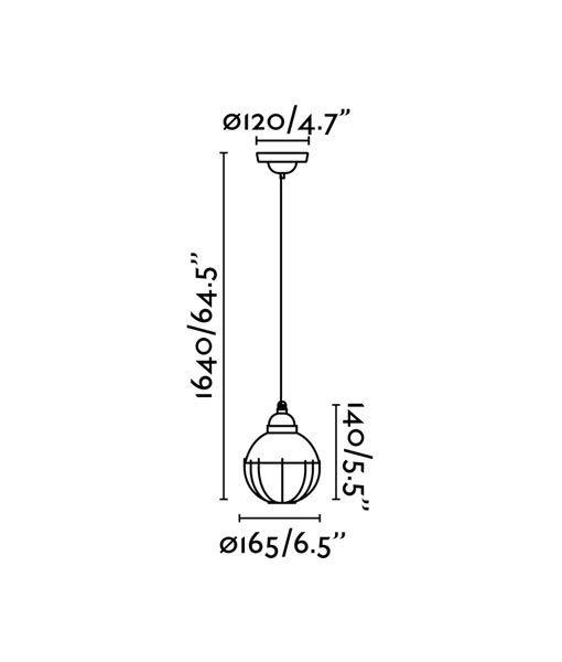 Medidas lámpara verde de techo CLAIRE