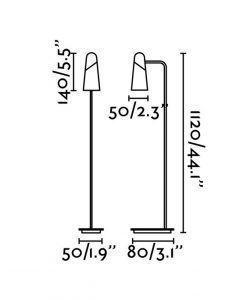 Medidas pie de salón minimalista blanco y cobre LAO LED