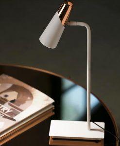 Sobremesa minimalista blanco y cobre LAO LED ambiente 2