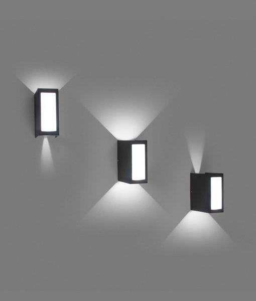Aplique decorativo exterior LOG LED detalles ajustable de haz de luz