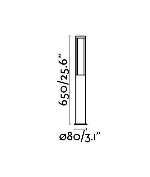 Medidas baliza exterior 65 cm gris oscura LOGAR-1 LED