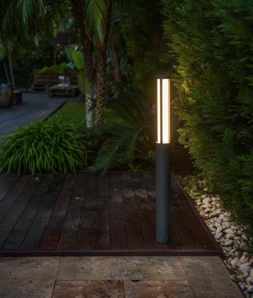Baliza exterior 90 cm gris oscura LOGAR-2 LED ambiente