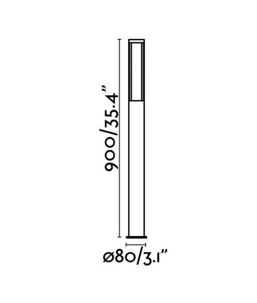 Medidas baliza exterior 90 cm gris oscura LOGAR-2 LED