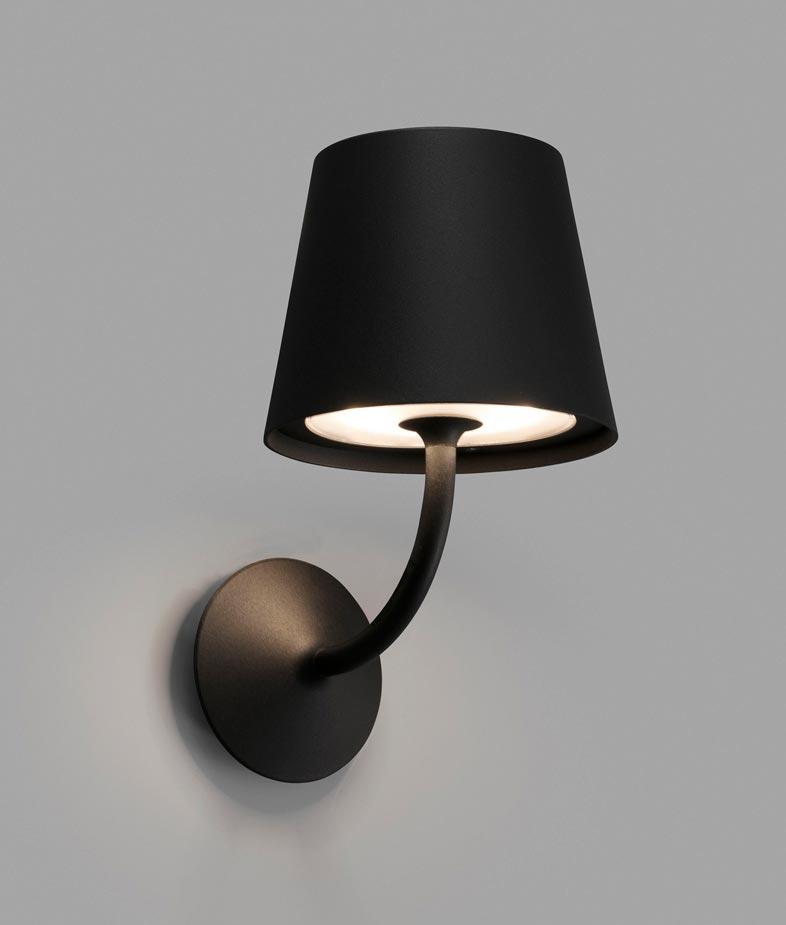 Luminaria clásica negra TOC LED detalle
