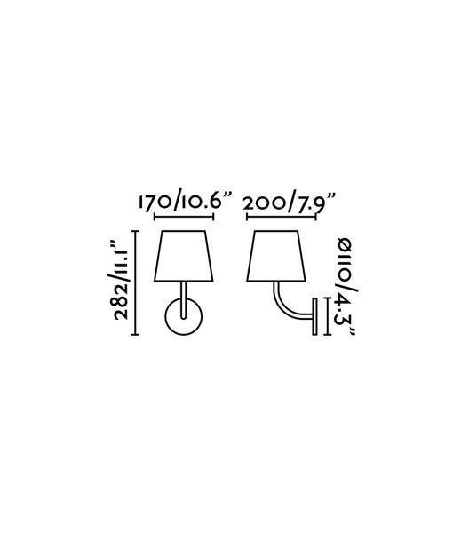 Medidas luminaria clásica negra TOC LED
