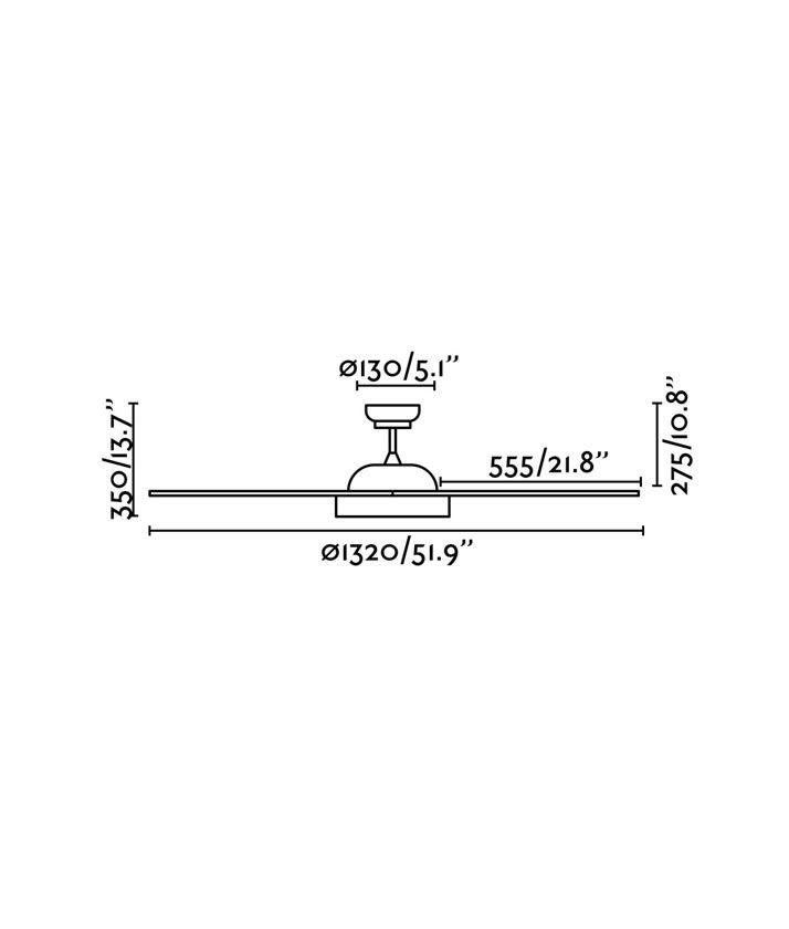 Medidas ventilador blanco motor DC POLARIS LED