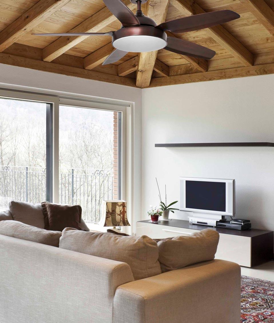 Ventilador con luz LED y motor DC bajo consumo LEYTE ambiente
