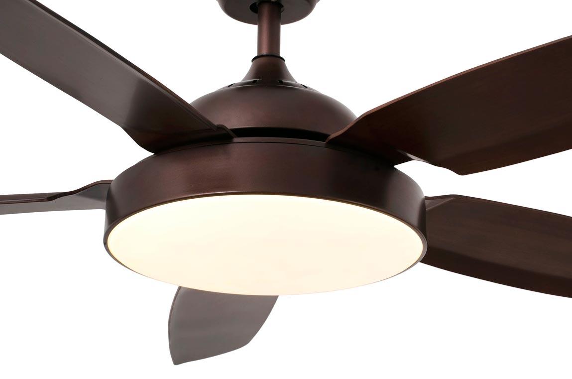 Ventilador con luz LED y motor DC bajo consumo LEYTE detalle