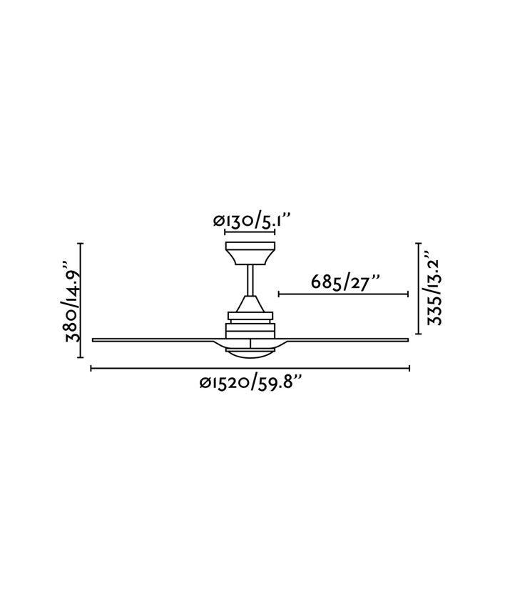 Medidas ventilador de techo de madera ALO LED