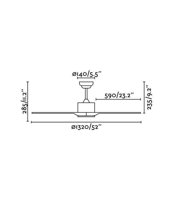Medidas ventilador de techo marrón moderno LUZON