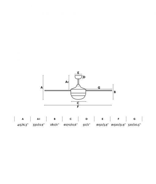 Medidas ventilador interior moderno marrón ICARIA