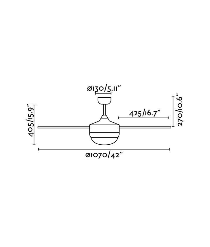 Medidas ventilador moderno marrón óxido MINI ICARIA