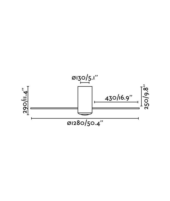 Medidas ventilador negro mate y motor DC MINI TUBE FAN
