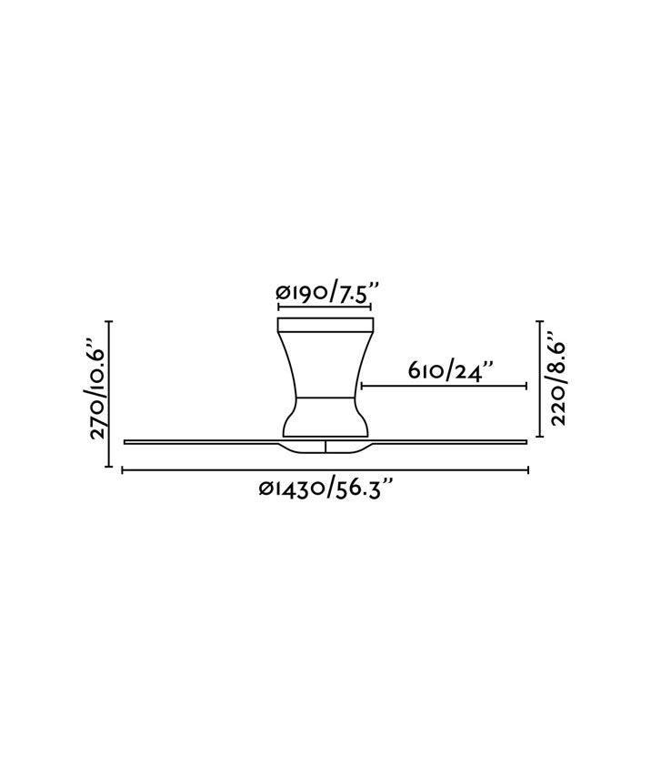 Medidas ventilador negro moderno LAMA