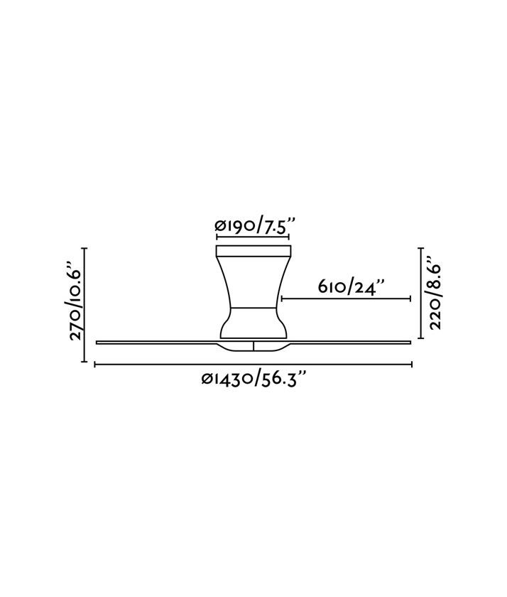 Medidas ventilador níquel mate moderno LAMA