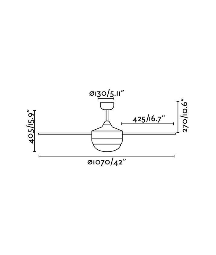 Medidas ventilador níquel y transparente MINI ICARIA