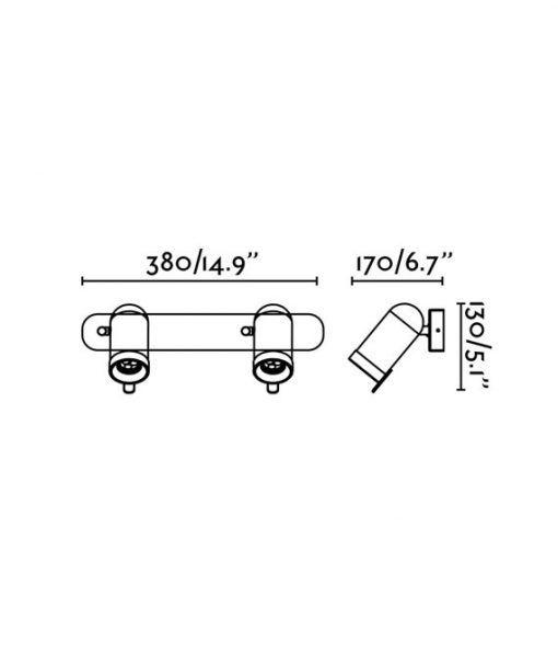 Medidas aplique blanco con dos luces ORLEANS