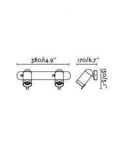 Medidas aplique foco cromo con dos luces ORLEANS