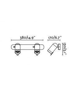 Medidas aplique negro 2 focos de luz ORLEANS