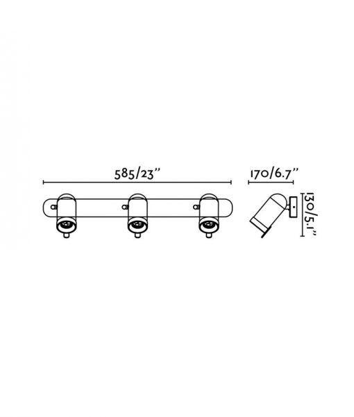 Medidas focos aplique cromo con 3 luces ORLEANS