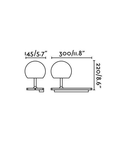 Medidas lámpara aplique derecho blanco con USB NIKO LED