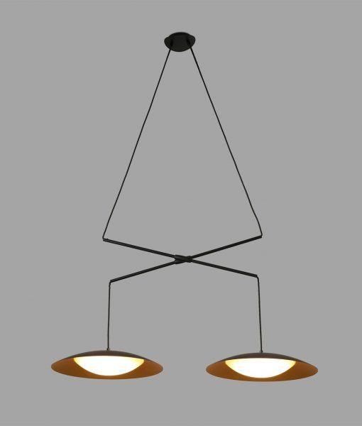 Lámpara doble extensible negra oro SLIM LED detalle